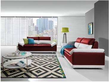 JUSTyou Manilla Polstergarnitur Sofa Couchgarnitur Weiß Rot