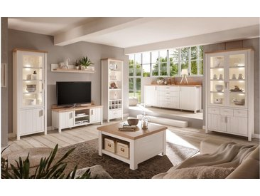 JUSTyou Bellinzona Wohnzimmerset Wohnzimmer Komplett Pinie Weiß | Eiche