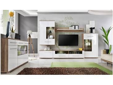JUSTyou Nidda Wohnzimmerset Wohnzimmer Komplett Monument Eiche  Weiß