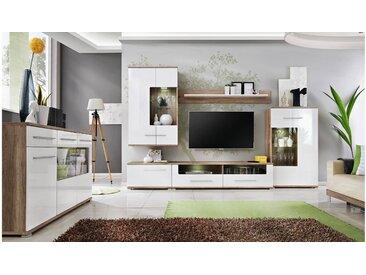 JUSTyou Nidda Wohnzimmerset Wohnzimmer Komplett Monument Eiche| Weiß