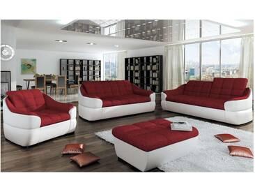 JUSTyou INFINITY 3+2+1 Polstergarnitur Sofa Couchgarnitur Weiß Rot
