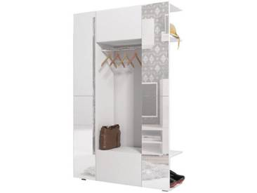 JUSTyou Cube Garderobe Garderobensetnset Garderobenset  Weiß mit Spiegel Badezimmerschrank Badspiegel