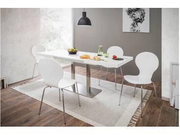 JUSTyou Otardo Esszimmertisch Küchentisch Esstisch Weiß Edelstahl 80x120 cm