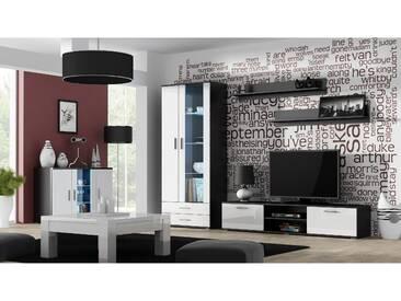 JUSTyou Saho IX Wohnzimmerset Wohnzimmer Komplett Schwarz Weiß