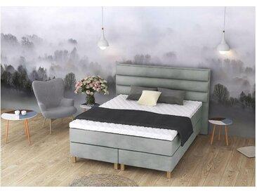 ELESS Halvön Boxspringbett Continentalbett Amerikanisches Bett Doppelbett Ehebett Gästebett Grau 140x210 cm H2-H3