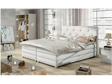 JUSTyou Teja Boxspringbett Continentalbett Amerikanisches Bett Doppelbett Ehebett Gästebett Weiß 140x200 cm