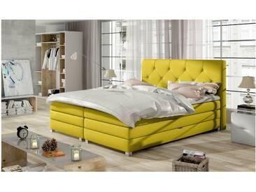 JUSTyou Teja Boxspringbett Continentalbett Amerikanisches Bett Doppelbett Ehebett Gästebett Gelb 180x200 cm