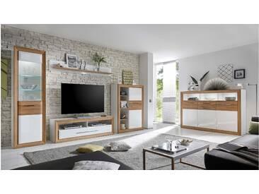 JUSTyou Ginevra Wohnzimmerset Wohnzimmer Komplett Weiß   Balkeneiche