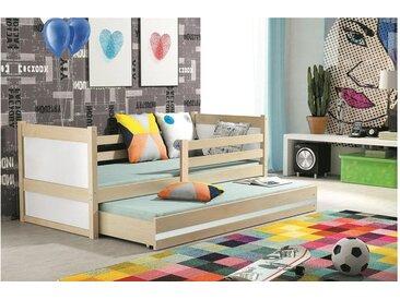 JUSTyou Lora mit Extrabett Funktionsbett Jugendbett Kinderbett Einzelbett  80x190 cm Kiefer Weiß