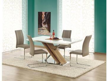 JUSTyou Nexus Esszimmertisch Küchentisch Esstisch Glas Weiß 160x90x76 cm