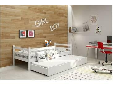 JUSTyou Nemo Funktionsbett Jugendbett Kinderbett Einzelbett  Weiß 80x160 cm