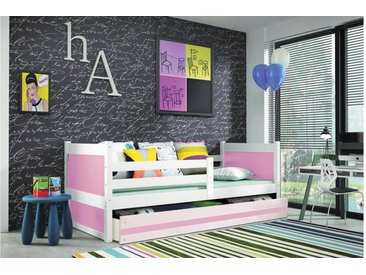 JUSTyou Lora Funktionsbett Jugendbett Kinderbett Einzelbett  90x200 cm Weiß Rosa
