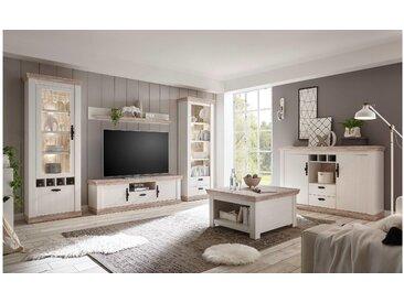 JUSTyou Samwell Wohnzimmerset Wohnzimmer Komplett Pinie Weiß  
