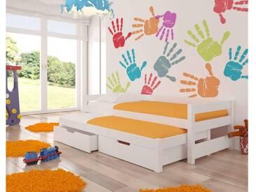 JUSTyou Fraga Kinderbett Jugendbett Funktionsbett Einzelbett  65x206x96 cm Weiß