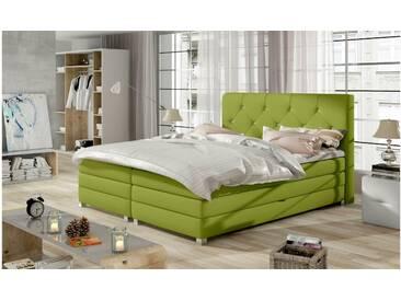JUSTyou Teja Boxspringbett Continentalbett Amerikanisches Bett Doppelbett Ehebett Gästebett Grün 160x200 cm