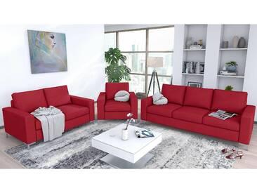 JUSTyou Helmer Polstergarnitur Sofa Couchgarnitur Rot Velours