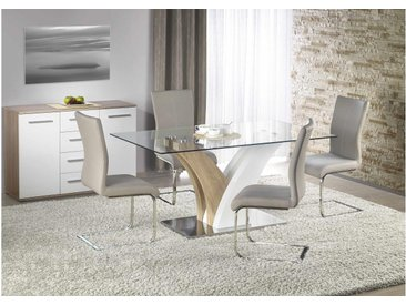 JUSTyou Sitzgruppe Sitzgarnitur Esszimmergarnitur  aus Glas Vilmer + 4 Stühle K218