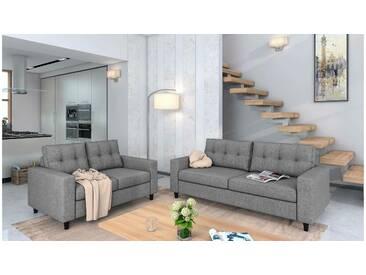 JUSTyou Linn Polstergarnitur Sofa Couchgarnitur Latte Hellgrau Strukturstoff