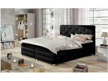 JUSTyou Teja Boxspringbett Continentalbett Amerikanisches Bett Doppelbett Ehebett Gästebett Schwarz 160x200 cm
