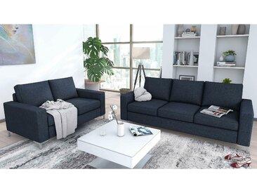 JUSTyou Bertil Polstergarnitur Sofa Couchgarnitur Blau Strukturstoff
