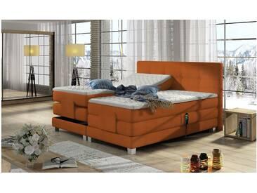 JUSTyou Tasso Boxspringbett Continentalbett Amerikanisches Bett Doppelbett Ehebett Gästebett Orange 180x200