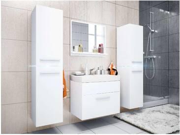 JUSTyou Jump LED Badezimmerset Bademöbel Komplett Bademöbelset 4-teilig Weiß