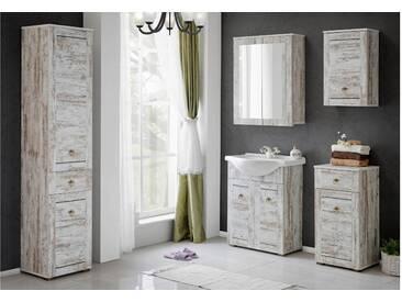 JUSTyou Dions Badezimmerset Bademöbel Komplett Bademöbelset Pinie Weiß