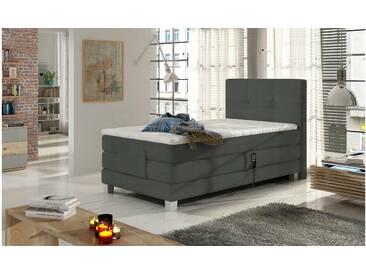 JUSTyou Tasso Boxspringbett Continentalbett Amerikanisches Bett Doppelbett Ehebett Gästebett Dunkelgrau 100x200