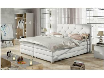 JUSTyou Teja Boxspringbett Continentalbett Amerikanisches Bett Doppelbett Ehebett Gästebett Weiß 160x200 cm