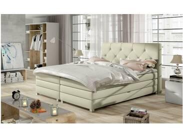 JUSTyou Teja Boxspringbett Continentalbett Amerikanisches Bett Doppelbett Ehebett Gästebett Creme 180x200 cm