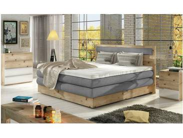 JUSTyou Apake Boxspringbett Continentalbett Amerikanisches Bett Doppelbett Ehebett Gästebett Massiv Grau 180x200