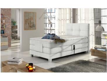 JUSTyou Tasso Boxspringbett Continentalbett Amerikanisches Bett Doppelbett Ehebett Gästebett Weiß 100x200