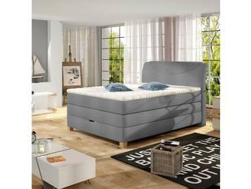 JUSTyou Agon Boxspringbett Continentalbett Amerikanisches Bett Doppelbett Ehebett Gästebett Grau 140x200