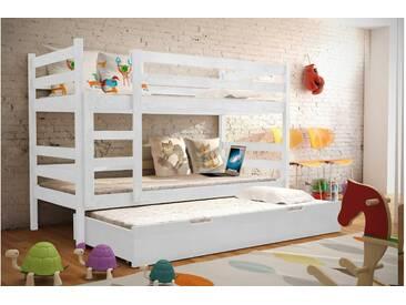 JUSTyou Nemo Etagenbett Kinderbett Weiß 80x185 cm