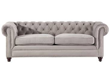 Schlafsofa Chesterfield Classic Velvet light grey 3-Sitzer
