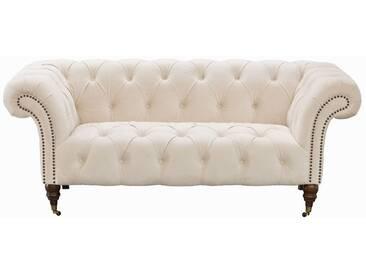 Sofa Chesterfield Glamour Velvet Cream 2-Sitzer
