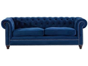 Schlafsofa Chesterfield Classic Velvet indigo blue 3-Sitzer