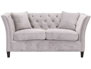 Sofa Chesterfield Modern Velvet Light Grey 2-Sizter