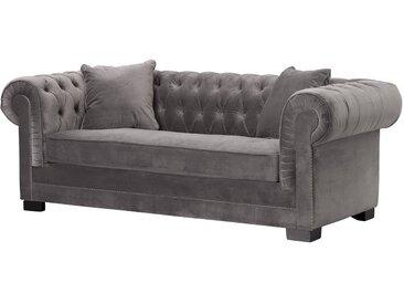 sofa chesterfield classic velvet dark grey 3 sitzer