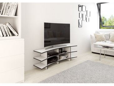 TV-Möbel Curved-TV-Rack - 140 x 45 x 35 cm (B x H x T) - Weiss, MDF Schwarz, 19 mm - konfigurierbar in 3D