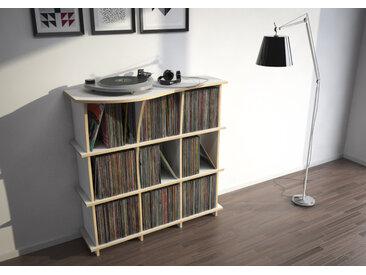 Regal Schallplattenregal Conco - 110 x 111 x 44 cm (B x H x T) - Weiss, MDF Natur, 19 mm - konfigurierbar in 3D