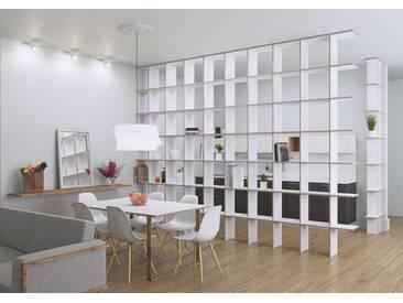 Regal Raumteiler Strada XL - 480 x 280 x 30 cm (B x H x T) - Weiss, Birkenschichtholz, 18 mm - konfigurierbar in 3D