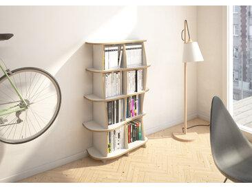 Sideboard Highboard Nela - 87 x 126 x 32 cm (B x H x T) - Weiss, MDF Natur, 19 mm - konfigurierbar in 3D