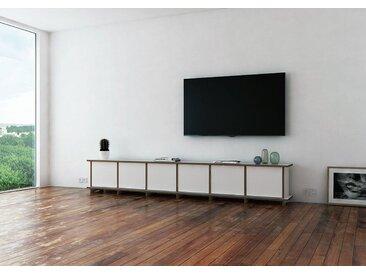 TV-Möbel TV-Lowboard Longa - 249 x 41 x 30 cm (B x H x T) - Weiss, MDF Natur, 19 mm - konfigurierbar in 3D
