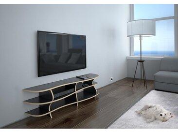KONFIGURIERBAR IN 3D - TV-Möbel Rack Riva - 149 x 41 x 36 cm - Schwarz, MDF Natur