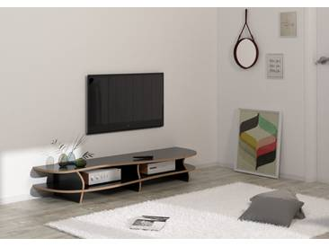 KONFIGURIERBAR IN 3D - TV-Möbel Lowboard Black Carpet - 160 x 26 x 46 cm - Schwarz, MDF Natur