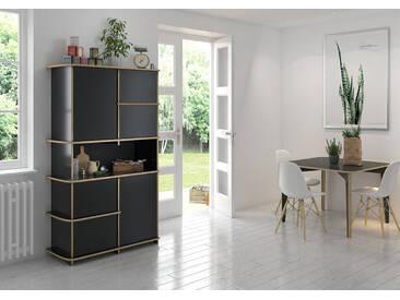 Schrank Küchenschrank Amira - 108 x 180 x 45 cm (B x H x T) - Schwarz, Birkenschichtholz, 18 mm - konfigurierbar in 3D