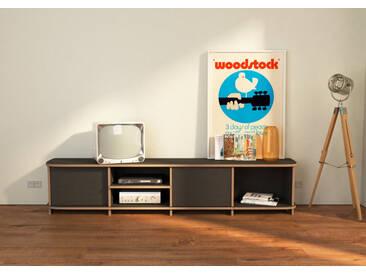 TV-Möbel TV-Lowboard Austin - 200 x 40 x 35 cm (B x H x T) - eco Mittelgrau, Birkenschichtholz, 18 mm - konfigurierbar in 3D