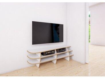 TV-Möbel TV-Rack Eck-Rack - 139 x 41 x 32 cm (B x H x T) - Weiss, MDF Natur, 19 mm - konfigurierbar in 3D
