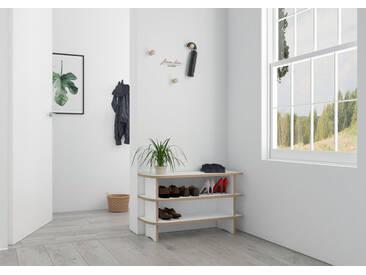 Regal Schuhregal Anga - 80 x 50 x 30 cm (B x H x T) - Weiss, MDF Natur, 19 mm - konfigurierbar in 3D